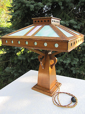 Antique Prairie School Slag Glass Mission Solid Oak Lamp Arts Crafts Early 1900