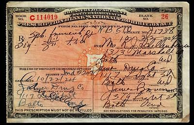 Prohibition Prescription Antique 1924 Liquor Rx Doctor Pharmacy Bar Baltimore MD