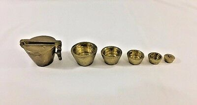 Vintage Apothecary Brass Nesting Weight Set with Clasp 6 Pieces
