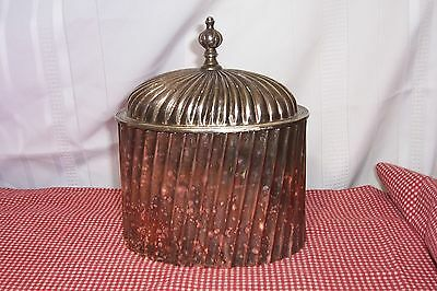 Vintage Silver-plate Tea Caddy -Ribbed-Made in India-Large Silverplate Canister