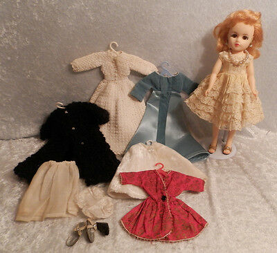 """Vintage 1950s 10"""" Nancy Doll With Heels Clothes & Jewels"""