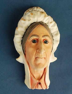 Vintage 1964 Bossons England Wall Hanging Chalkware Head Betsey Trotwood