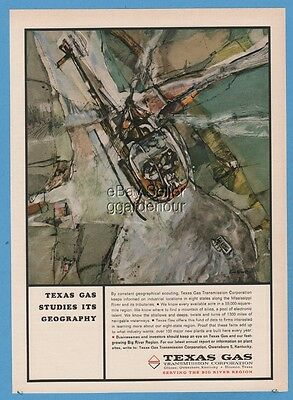 1964 Texas Gas Transmission Pipeline Helicopter Ken Nisson Art Geography Ad