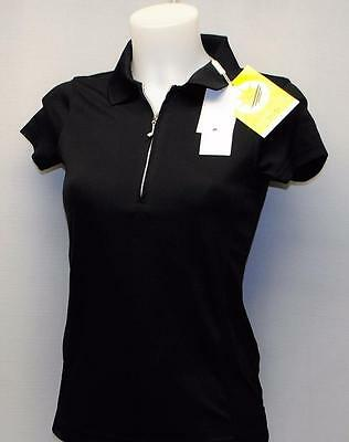 Ladies XS Daily Sports black zip polyester cap sleeve golf polo shirt