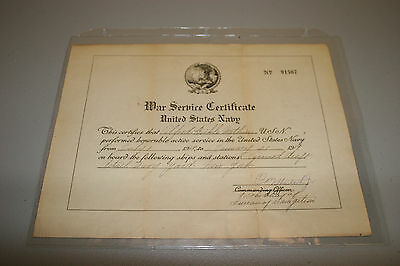 War Service Certificate, United States Navy 1918