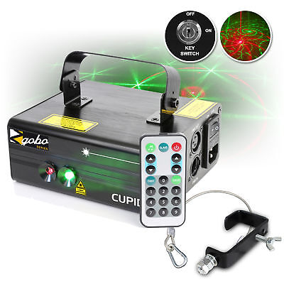 Beamz Cupid 350mW RG DMX Red Green DJ Gobo IRC Laser w/ G Clamp & Safety Cable