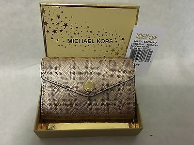 Michael Kors Signature Rose Gold Metallic Saffiano Business Card Holder NEW Tags