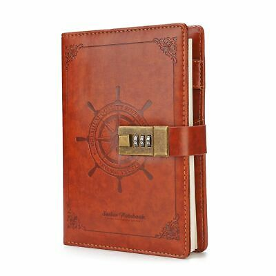 Sheet Rudder Leather Journal Blank Diary Note Book+Password Code Lock Book
