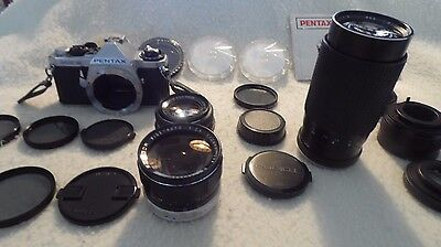 Pentax Me Super 35 Mm Camera With Lots Of Attachments
