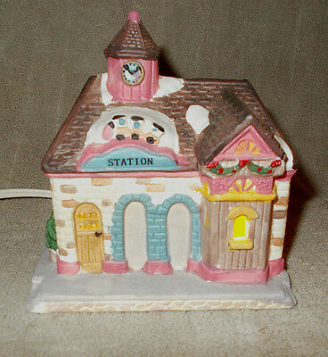 """Lighted porcelain train station, Christmas village, Dickens Collectables, 4"""" hi"""