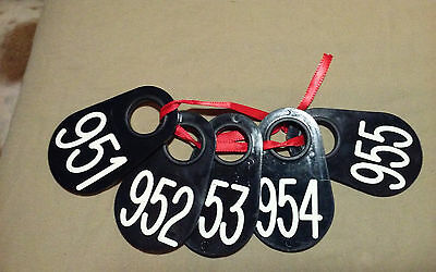 "Livestock Neck Tag / Ear Tags  #951-#955 Plastic 3 1/2"" X 2 1/4"" Goat, Sheep,cow"