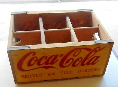 HARD TO FIND 1960s WOODEN FAMILY SIZE YELLOW COCA-COLA BOTTLE CRATE - NEAR MINT