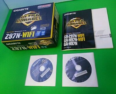 Gigabyte Z97N-WIFI Motherboard Accessories: Manual Driver CD & Wifi Disc w/ Box