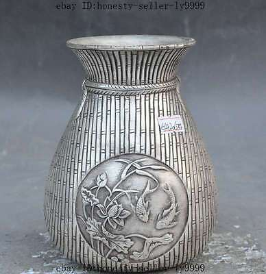 "6"" marked chinese silver fish lotus statue Cup Bottle Pot Vase Jar Tanks Crock"