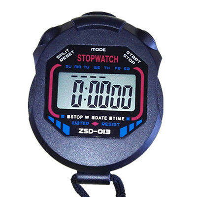 Stopwatch Stop Watch LCD Digital Professional Chronograph Timer Counter Sports B