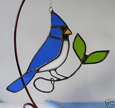 "Vintage LEADED STAINED GLASS BLUE JAY SUN CATCHER Suncatcher HAND CRAFTED 7""x 8"""