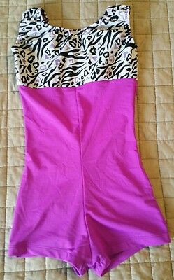 Black Purple Leopard Print Dance Unitard Leotard Girls M Gymnastic Twirl