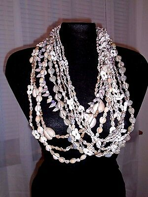 Lot 10 Necklaces Assorted Shell Strand Lei Seashells Necklaces