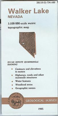 US Geological Survey topographic map metric WALKER LAKE Nevada 1985