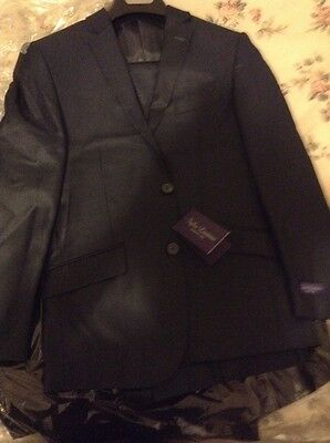 Figlio Lontano 3 Piece Slim Fit Suit - Midnight Solid Blue Size 34s BRAND NEW
