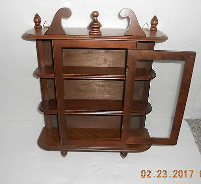 Vtg. Wooden Curio Cabinet Table Top Or Wall Shelve W/ Glass Center Door