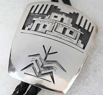 Hopi Victor Coochwytewa Sterling Silver Overlay Bolo Tie, Native American Indian
