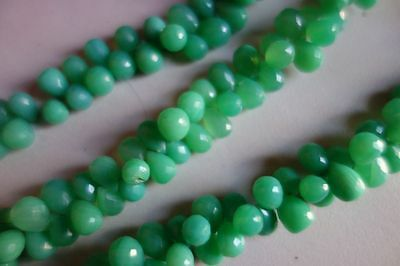AG Created 7Inch Chrysoprase 6x8mm faceted Drops beads gemstone 65Pcs#6808