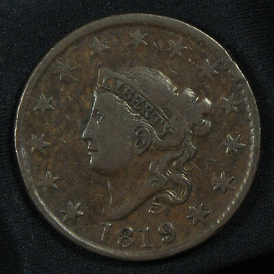 1819 Coronet Head Large Cent -- F to VF Condition