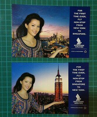 Singapore airlines first flight to New York postcard set of 2 mint in pack!