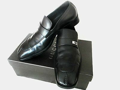 GUCCI Mens shoes US 11 Eur 44 Black Mocassino loafers Silver G Logo Rubber Sole