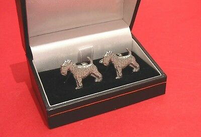 Airedale Terrier Dog Pewter Cufflinks BOXED Fathers Fashion Xmas Airedale Gift