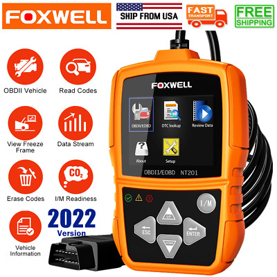 OBD2 EOBD Car Code Reader Engine Live Data  I/M Diagnostic Scanner Foxwell NT201