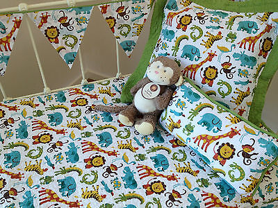 4 pce Jungletime Baby Boys Crib Cot Quilt  2  Cushions & Bunting Nursery Bedding