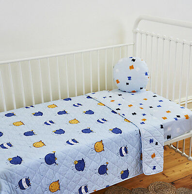 Boys Nursery Monsters Baby Quilted Cot Crib Quilt Linens N Things Cotton