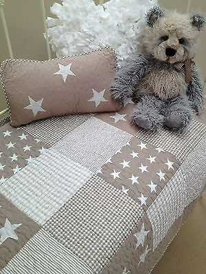 Cot Quilt & Cushion 2 pce Natural Stars Baby Boys Girls Hamptons Nursery Lachlan
