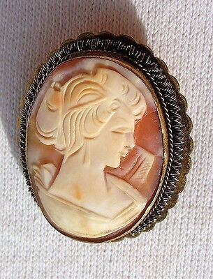 Vintage Victorian Wire Edge Carved Shell Cameo Pin Pendant