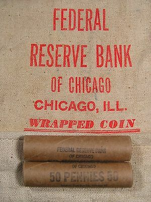 ONE UNSEARCHED - Uncirculated Lincoln Wheat Penny Roll - 1909 1958 P D S (58)