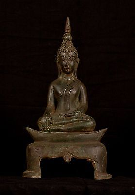 19th Century Antique Laos Enlightenment Boat Buddha Statue - 32cm/13""