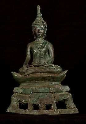 19th Century Antique Laos Enlightenment Boat Buddha Statue - 35cm/14""