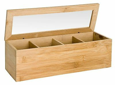 Eco Wooden Bamboo Tea Box 4 Sections Compartments Container Bag Chest Storage