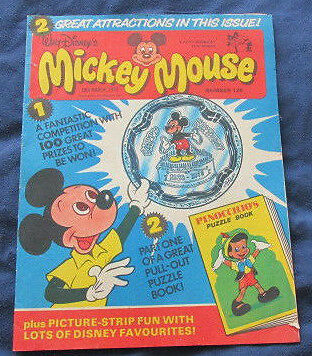 Mickey Mouse Comic No 126 18th March 1978  c/w Pinocchios puzzle book