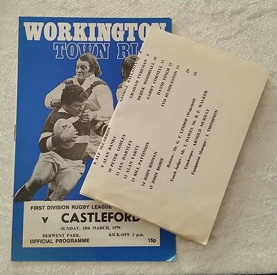 13/05/1979 Rugby League Programme: Workington Town v Castleford + Update Sheet