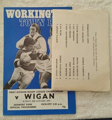 28/01/1979 Rugby League Programme: Workington Town v Wigan + Four Page Update