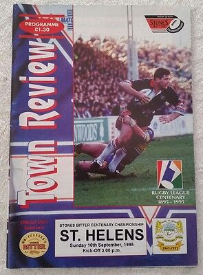 Workington town v St Helens Sunday 10th September 1995 Rugby League Programme