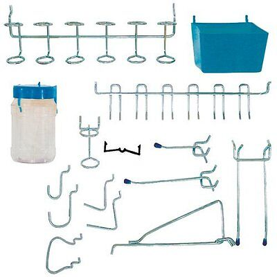 43 Pcs Slotted Storage Panel Pegboard Hook Tool Holder Strong Steel Hanger Kit