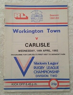 14/04/1982 Rugby League Programme: Workington Town v Carlisle FIRST VISIT