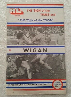 24/02/1980 Rugby League Programme: Workington Town v Wigan
