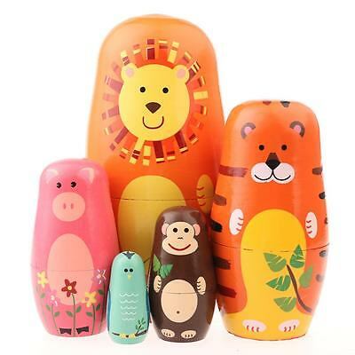 5pcs Animal Design Russian Doll Matryoshka Wooden Hand Painted Child Kids Gift