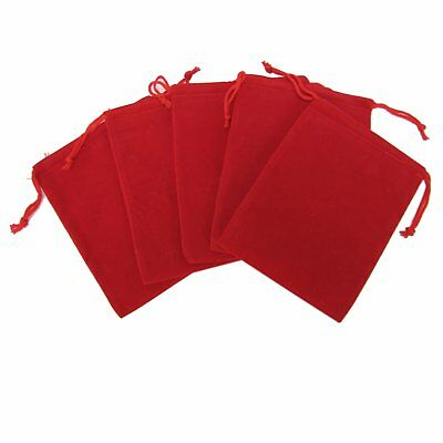 """100 Red Drawstring Gift Velvet Square Wedding Pouches Favour Jewelry Bag 2""""x3"""""""
