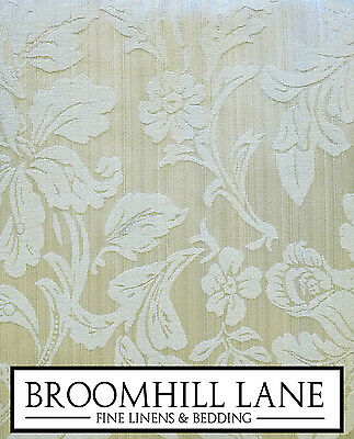 """New! Cream Gold Floral 66"""" x 90"""" Ready Made Fully Lined Pencil Pleat Curtains"""